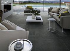 Pavimento in gres porcellanato a tutta massa effetto cemento MATERIA D Fumo by Italgraniti
