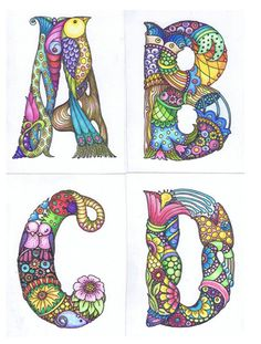 Sheila Arthurs - alphabet the first four Doodle Lettering, Creative Lettering, Lettering Design, Hand Lettering, Alphabet Art, Letter Art, Alfabeto Animal, Tangle Art, Flower Doodles