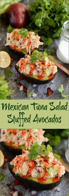 Mexican Tuna Salad Stuffed Avocados - my favorite healthy 10-minute lunch that is packed with flavor!