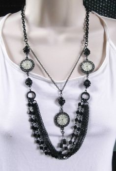 """Time Is Fleeting"" 28"" Black & White Necklace With FREE Matching Earrings  $28 + Free USA Shipping"