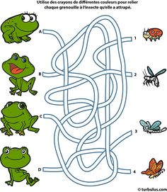 Preschool Learning Activities, Preschool Worksheets, Kids Learning, Activities For Kids, Visual Perception Activities, Printable Mazes, Free Printable, Kindergarten Coloring Pages, Frog Theme