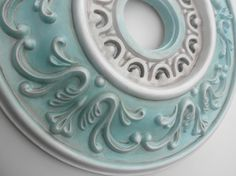 18 Decorative Ceiling Medallion SOUTH BEACH, hand painted & distressed in Antiqued Aqua, Pearl White and Cocoa Brown for a Fan or Chandelier. Red Chandelier, Chandeliers, Plaster Ceiling Rose, Painted Furniture, Antique Furniture, Diy Furniture, Distressed Painting, Ceiling Medallions, Ceiling Light Fixtures