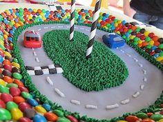 Car racetrack cake