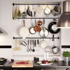 Short on kitchen storage space? IKEA FINTORP kitchen wall storage is a clever way to organize your kitchen and free up some of your workspace with rails, hooks and containers! Small Kitchen Solutions, Kitchen Room, Kitchen Remodel, Kitchen Storage Space, Kitchen Wall, Home Kitchens, Kitchen Wall Storage, Kitchen Design, Ikea Kitchen
