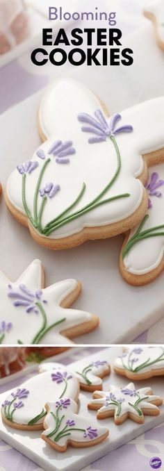 Make a batch of these pretty Blooming Easter Cookies for some-bunny special! Create shades of lavender and violet by combining Wilton Rose and Royal Blue icing colors.