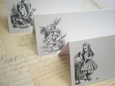 These Alice In Wonderland themed place cards would make the perfect addition to your party or special event. Use them for tea parties, weddings, birthdays the list is endless! Place Cards measure 9cm x 4cm once folded You will receive a mixed set of 10 place cards. Characters include
