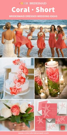 Coral Bridesmaid Dresses Short/Mini - Coral short bridesmaid dresses in styles, under custom-made, all sizes, fast arrived, gre - Bridesmaid Dresses Mismatched Boho, Bridesmaid Dresses Long Champagne, Tiffany Blue Bridesmaid Dresses, Beach Wedding Bridesmaids, Bridesmaid Dress Colors, Coral Dress, Coral Wedding Colors, Blue Coral Weddings, Coral Wedding Decorations