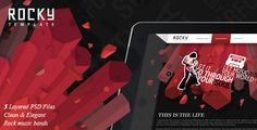 Rocky PSD Template . Rocky has features such as Layered: Yes, Minimum Adobe CS Version: CS3