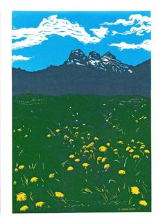 Three Sisters Summer 4 Color Linocut Relief Print Hand Pulled Fine Art Limited Edition Printmaking Original Canmore