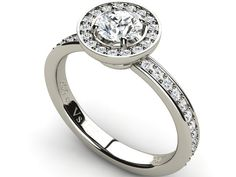 Halo Diamond Engagement Ring with Side Accents 18K White Gold - Paul Jewelry