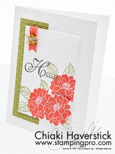 Cameo Florets-Fabulous Florets and Lovely & Lacy stamp sets; Cameo Coral, Old Olive and Chocolate Chip inkpads; Dazzling Diamonds glitter.
