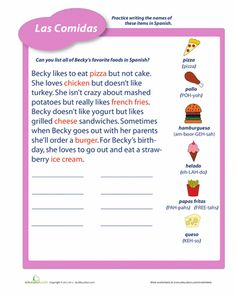 Worksheets: Foods in Spanish