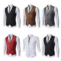 2016 Custom Made Black Brown Red Gray White Mens Vests Wedding Prom Suit Waistcoats Coletes Groomsman Vest Gilet Plus Size X-6XL