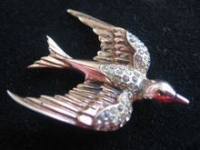 1940's Corocraft Sterling and Rhinestone Swallow Fur Clip-Pegasus Mark