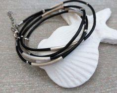 Leather Cord Bracelet, Womens Wrap Bracelet, Statement Bracelet, Leather multi wrap Bracelet, Tube charms  Wristband, Leather Wrap Jewelry by myera4u. Explore more products on http://myera4u.etsy.com