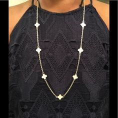 "Shop Women's bargainzgalore size OS Necklaces at a discounted price at Poshmark. Description: Handmade. necklace with 7 four leaf clover charms in ivory and framed in gold.. 18""-20"" drop or a total length of 46""-40"".. Sold by bargainzgalore. Fast delivery, full service customer support."
