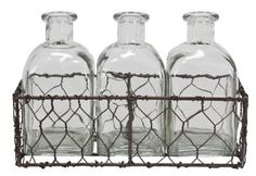 Chicken Wire Basket w/Glass Bottles