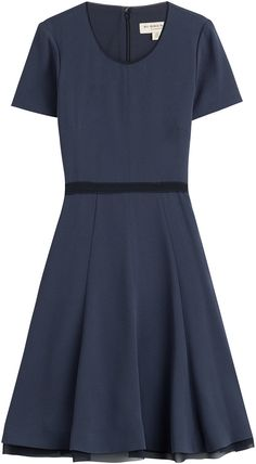 $1,175, Navy Skater Dress: Burberry London Flared Crepe Dress. Sold by STYLEBOP.com. Click for more info: https://lookastic.com/women/shop_items/281626/redirect