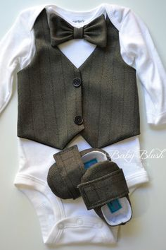 Black Vest Onesie Bow tie Baby Boy Outfit Matching Shoes----Ok so I can do with another boy for cute outfits like this! So cute.