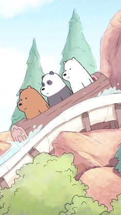 We bare bears log ride wallpaper Cute Disney Wallpaper, Kawaii Wallpaper, Cute Cartoon Wallpapers, Wallpaper Iphone Cute, 3 Bears, Cute Bears, We Bare Bears Wallpapers, Bear Wallpaper, Bear Cartoon