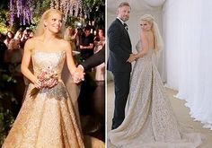 Jessica Simpson Chose A Gold Embellished Strapless Wedding Dress By Carolina Herrera For Her To