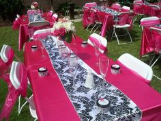 damask table party food supplies | Photo 1 of 3: Bridal/Wedding Shower Damask and Pink | Catch My Party