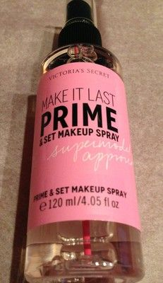 Victoria's Secret Make It Last Spray. It's a primer and a makeup setting spray in one! Must try.