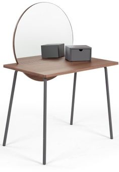 The Aldo Dressing Table in Walnut and Charcoal, from the MADE. A statement piece of pop art for your bedroom - with metal legs and a trinket box. Small Dressing Table, Dressing Mirror, Metal Furniture, Furniture Design, Modern Furniture, Workspace Desk, Desks, Dresser Table, Art Deco Bedroom