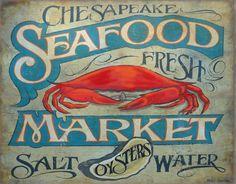 Seafood Market  Print with MAT origianl art by ZekesAntiqueSigns, $15.00