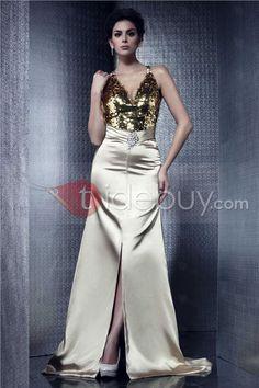Luxurious A-Line V-neck Floor-length Taline's Evening Dress