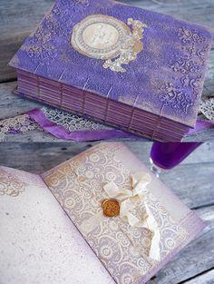 Fleur de Lis  Vintage wedding Guest Book or Wedding album in Purple and Gold. My…
