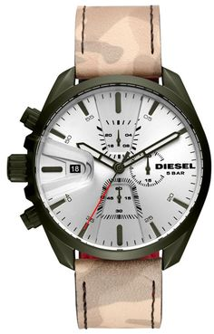 Discounted affordable on Diesel Timeframes Chronograph Quartz Men's Watch has Olive IP Stainless Steel Case, Leather Strap, Quartz Movement, Mineral Crystal, Silver Dial Crown And Buckle, Diesel Watch, Stainless Steel Case, Mineral, Watches For Men, Quartz, Display, Leather, Accessories