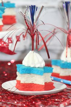 Fireworks Cupcake Recipe the perfect red white and blue cupcake for Fourth of July!