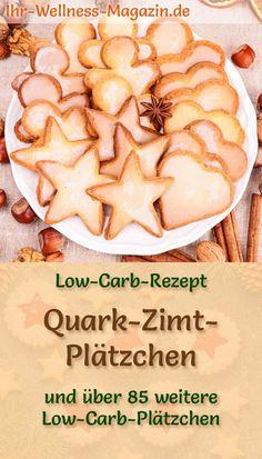 Low-Carb-Rezept für Quark-Zimt-Plätzchen zum Ausstechen - ein einfaches, schnelles Rezept ohne Zucker - mit gesundem Quark, Mandelmehl, Walnüssen, Zimt ... #weihnachtsbäckerei #plätzchen