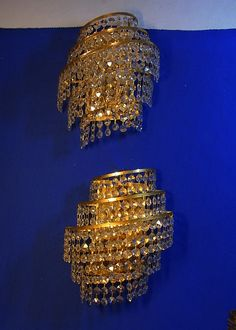 Pair Mid Century Gilt & Glass Weinfurtner Wall Lamps Mirror Sconces #<