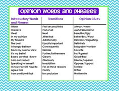 Opinion transitional words and phrases chart