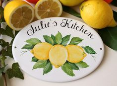 Ceramic personalized kitchen signs, kitchen wall decor with lemons, Farmhouse kitchen sign, Personalized housewarming gift Lemon Kitchen Decor, Kitchen Ideas, Kitchen Tips, Farmhouse Kitchen Signs, Personalized Housewarming Gifts, Beach House Signs, Tile Murals, Black Butler, Fixer Upper