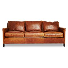 The Heston gives an urban edge to the classic leather sofa, featuring a cognac-hued exterior offset by careful distressing. Handcrafted from sustainably sourced wood, its black-walnut legs and wide, cushy seats make this piece a handsome addition to any room.