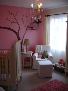 Love the idea of a chandelier in a nursery.