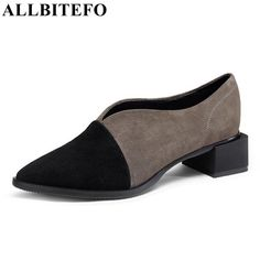 Best ALLBITEFO full genuine leather low heeled mixed colors women pumps fashion brand pointed toe thick heel. Click visit to check price