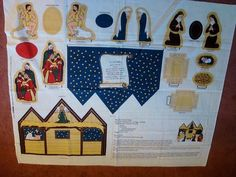 Fabric Panel Christmas Just Cut Sew Manger Nativity Scene w Figure Dolls | eBay