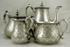 English Sterling Silver Abercrombie Tea Set 1863 Crowne Bull Crest 75 Oz | eBay