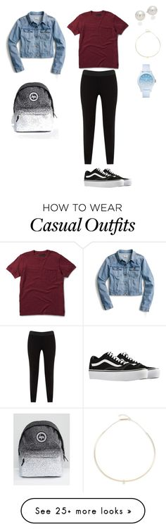 """""""Casual for school"""" by lucemoulin on Polyvore featuring J.Crew, Dr. Martens, JunaRose, Vans, Hype, AK Anne Klein, Lacoste and Zoë Chicco"""