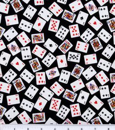 VEGAS CASINO ROULETTE SLOTS BINGO POKER CARDS GAMING CARDS COTTON FABRIC BTHY