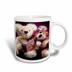 3dRose Teddy Bear reading , Ceramic Mug, 15-ounce