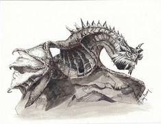 Paarthurnax from Skyrim ; Skyrim Dragon (Reproduced Print of Original Art - Chromogenic Print or C-Print)) by TerryGaneyArt on Etsy Skyrim Drawing, Baby Dragon Tattoos, Skyrim Fanart, Elder Scrolls Skyrim, Manga, Figure Drawing, Fantasy Art, Final Fantasy, Original Art