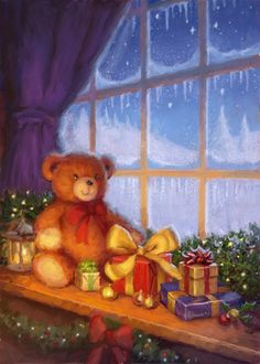 Leading Illustration & Publishing Agency based in London, New York & Marbella. Christmas Scenes, Kids Christmas, Vintage Christmas, Merry Christmas, All Holidays, Holidays And Events, Cute Teddy Bears, Christmas Aesthetic, Christmas Illustration