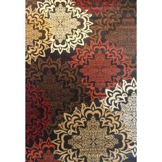 Contemporary Oriental Karma Multicolor Area Rug 7'10 x 9'10, Black (Olefin, Floral)