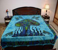 Cotton Double Tie-Dye Mushroom Print Sky Blue Color Bedsheet Bedcove N Bedding #Uttam #Transitional