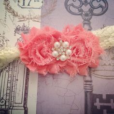 Coral Shabby Flower and Cream Lace Infant Headband, Toddler Headband, Baby Headband, Girl Headband on Etsy, $9.50